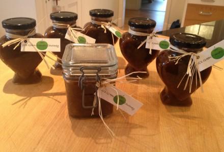 green tomato chutney jars