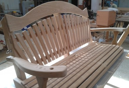 swing seat in workshop